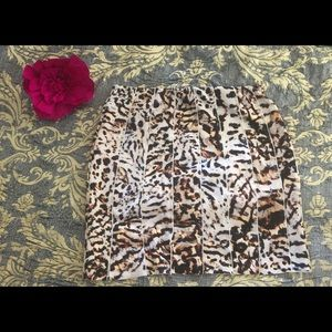 Zara Leopard Print Scuba Skirt
